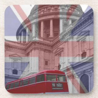 Red Bus and St Pauls Union Jack Flag Beverage Coaster