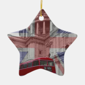 Red Bus and St Pauls Union Jack Flag Christmas Ornament