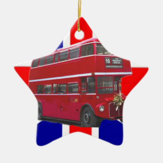 Red Bus and  Union Jack Flag Ceramic Star Decoration