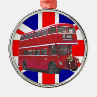 Red Bus and  Union Jack Flag Christmas Ornament