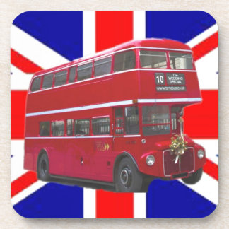 Red Bus and  Union Jack Flag Coaster