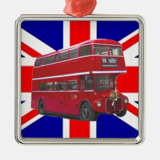 Red Bus and  Union Jack Flag Silver-Colored Square Decoration