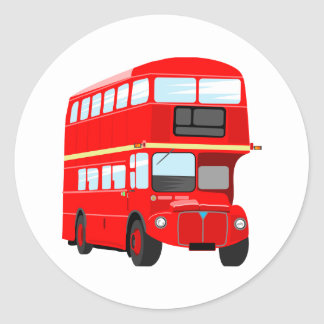 Red Bus Classic Round Sticker