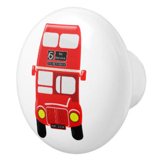 Red Bus Design Ceramic Knob