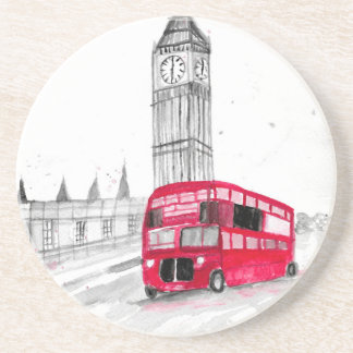 Red bus London Drink Coaster