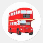 Red Bus Round Stickers