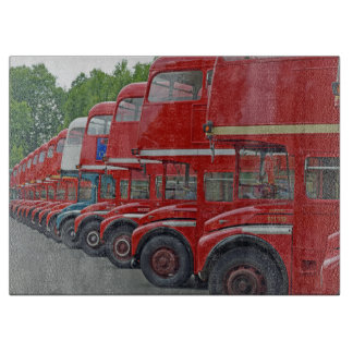 Red buses glass cutting board