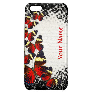 Red butterflies on black lace cover for iPhone 5C