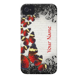 Red butterflies on black lace iPhone 4 case