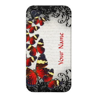 Red butterflies on black lace iPhone 4 covers