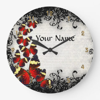 Red butterflies on black lace large clock