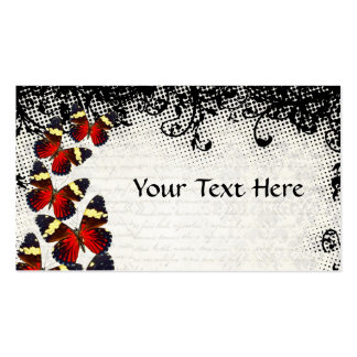 Red butterflies on black lace pack of standard business cards