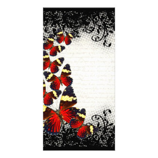 Red butterflies on black lace picture card
