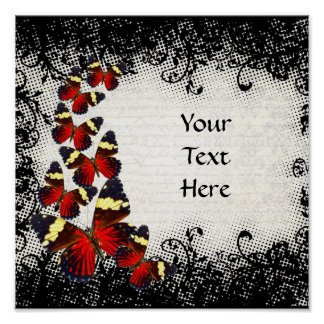 Red butterflies on black lace print