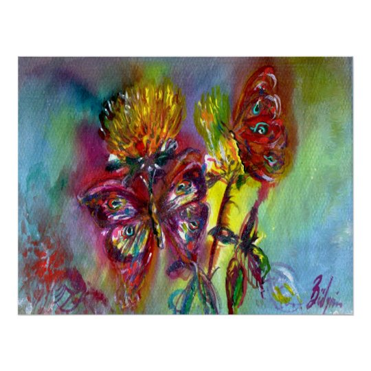 RED BUTTERFLIES ON YELLOW THISTLES,BLUE SKY Floral Poster