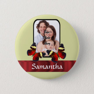 Red butterflies photo template 6 cm round badge