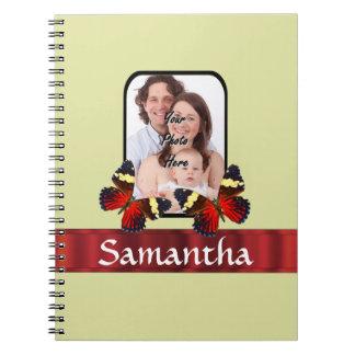 Red butterflies photo template notebook