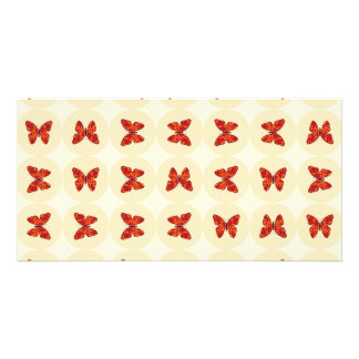 Red butterflies picture card