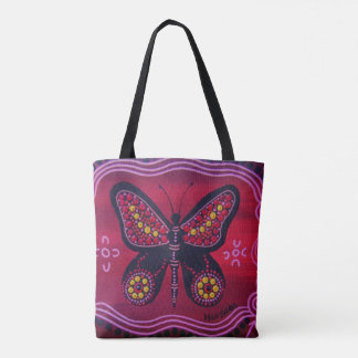 Red Butterfly Aboriginal Tote Bag