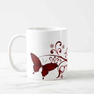 Red Butterfly Basic White Mug