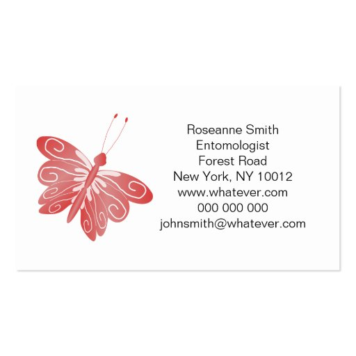 Red butterfly pack of standard business cards zazzle for Butterfly business cards