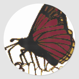 red butterfly classic round sticker