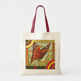 Red Butterfly Crate Label Budget Tote Bag
