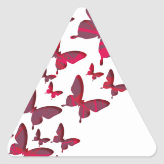 Red Butterfly Cutouts Triangle Sticker