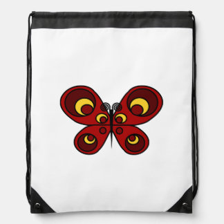 Red Butterfly Drawstring Backpack