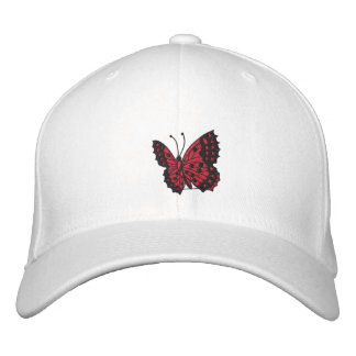 Red Butterfly Embroidered Cap