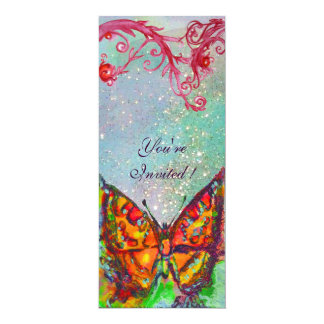 RED BUTTERFLY IN BLUE GREEN TEAL GOLD SPARKLES 10 CM X 24 CM INVITATION CARD