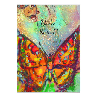 RED BUTTERFLY IN BLUE GREEN TEAL GOLD SPARKLES 13 CM X 18 CM INVITATION CARD