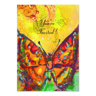 "RED BUTTERFLY IN YELLOW BROWN GOLD SPARKLES 5"" X 7"" INVITATION CARD"