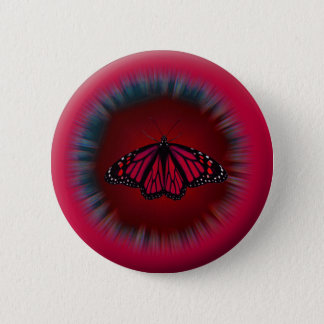 Red Butterfly Mandala Button
