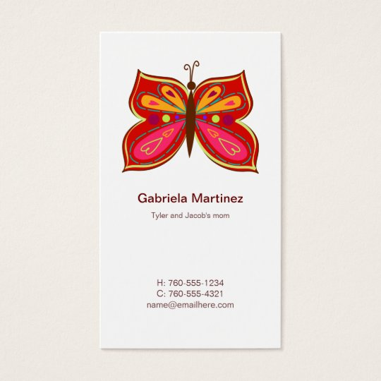 Red Butterfly Mummy Calling Cards