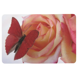 Red butterfly on pink rose floor mat