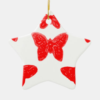 Red Butterfly Pattern Christmas Ornament