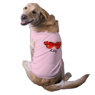 Red butterfly Pink Doggie Ribbed Tank Top Sleeveless Dog Shirt