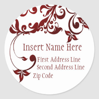 Red Butterfly Return Address Classic Round Sticker