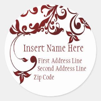 Red Butterfly Return Address Round Sticker