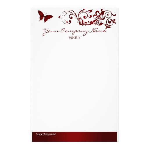 Red Butterfly Stationery Design