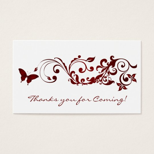 Red Butterfly, Thanks you Cards for Wedding