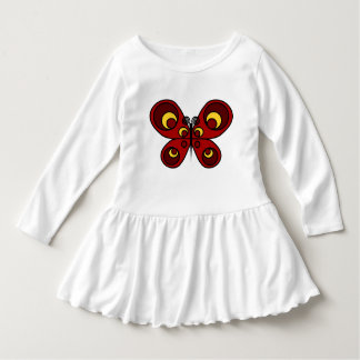 Red Butterfly Toddler Ruffle Dress