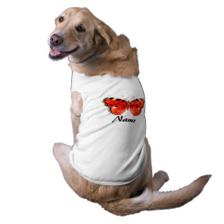 Red butterfly Watercolor Doggie Ribbed Tank Top