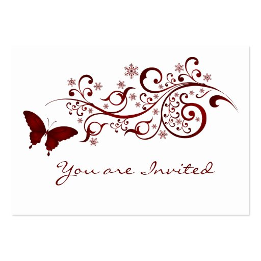 Red Butterfly Wedding Invitation Business Card Template