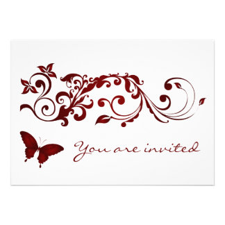 Red Butterfly Wedding Invitations