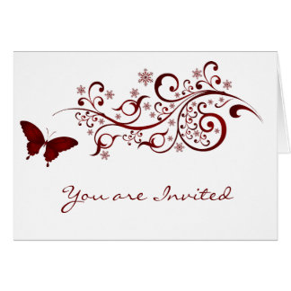 Red Butterfly Wedding Invitations Note Card