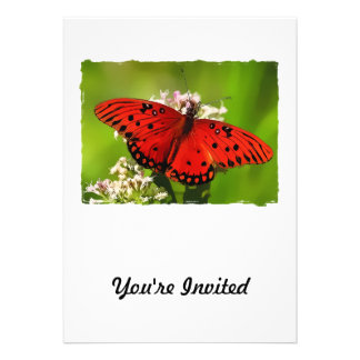 Red Butterfly with Edges Custom Invitation