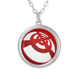 Red Button Wireless Signal Round Pendant Necklace