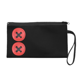 Red Buttons Black Satin Clutch Wristlet Bag